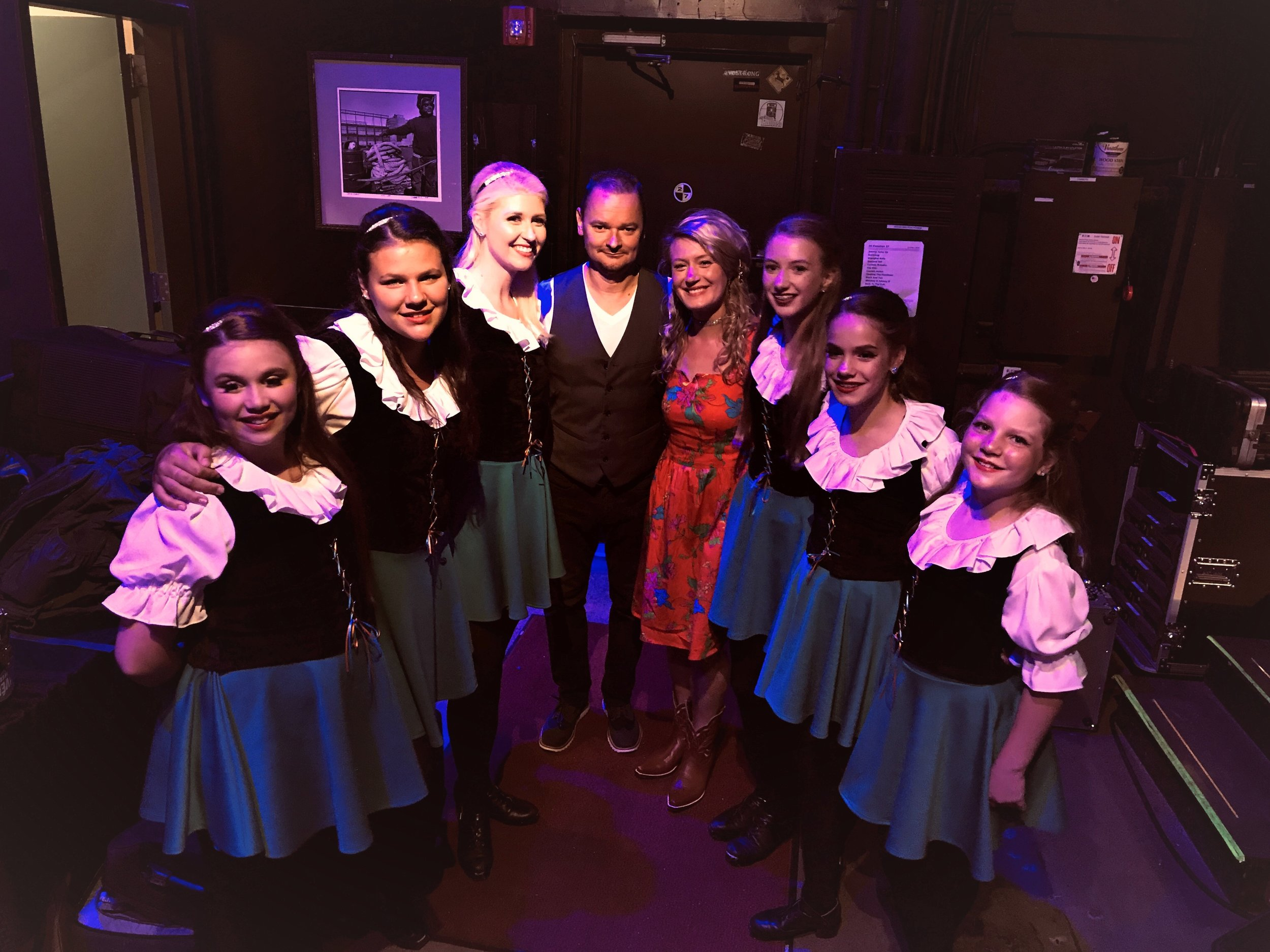 Sara Rhodes, TCRG and Rhodes Academy Irish dancers with band members of Gaelic Storm, June 2019