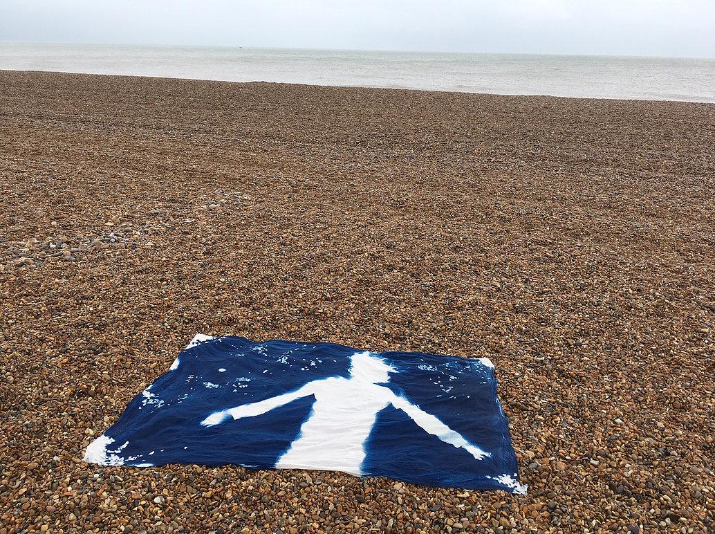 'Still on the Beach'. Cyanotype of Felicity Faulkner by Jane Watt.