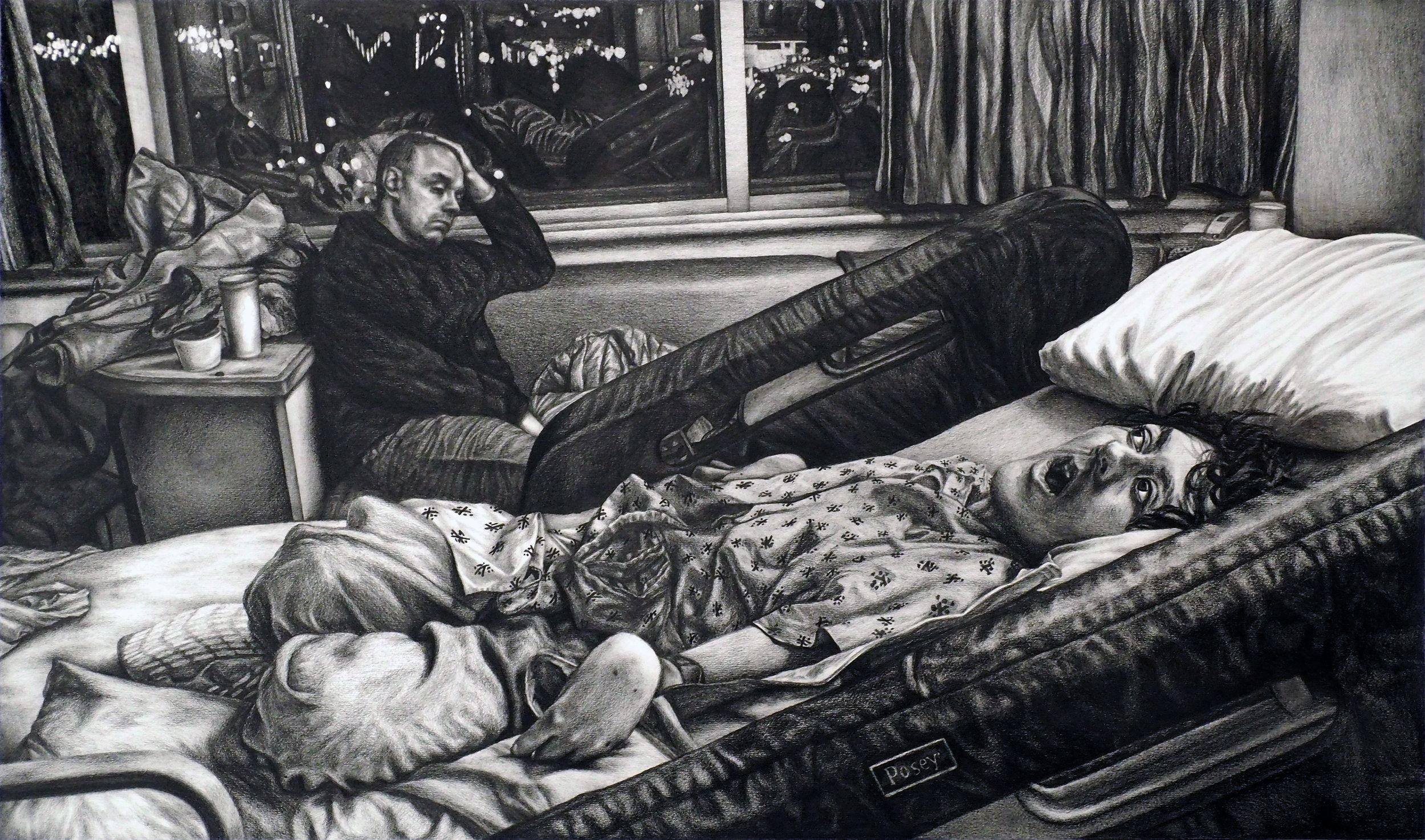 """Pneumonia Motel Study. Graphite on bristol board. 12"""" x 20"""" 2017."""