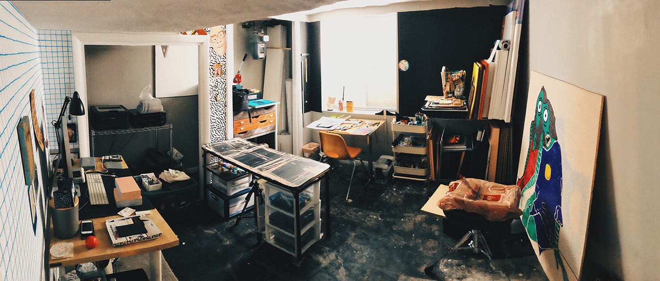 photo of Christopher Vaughn Couse's studio.