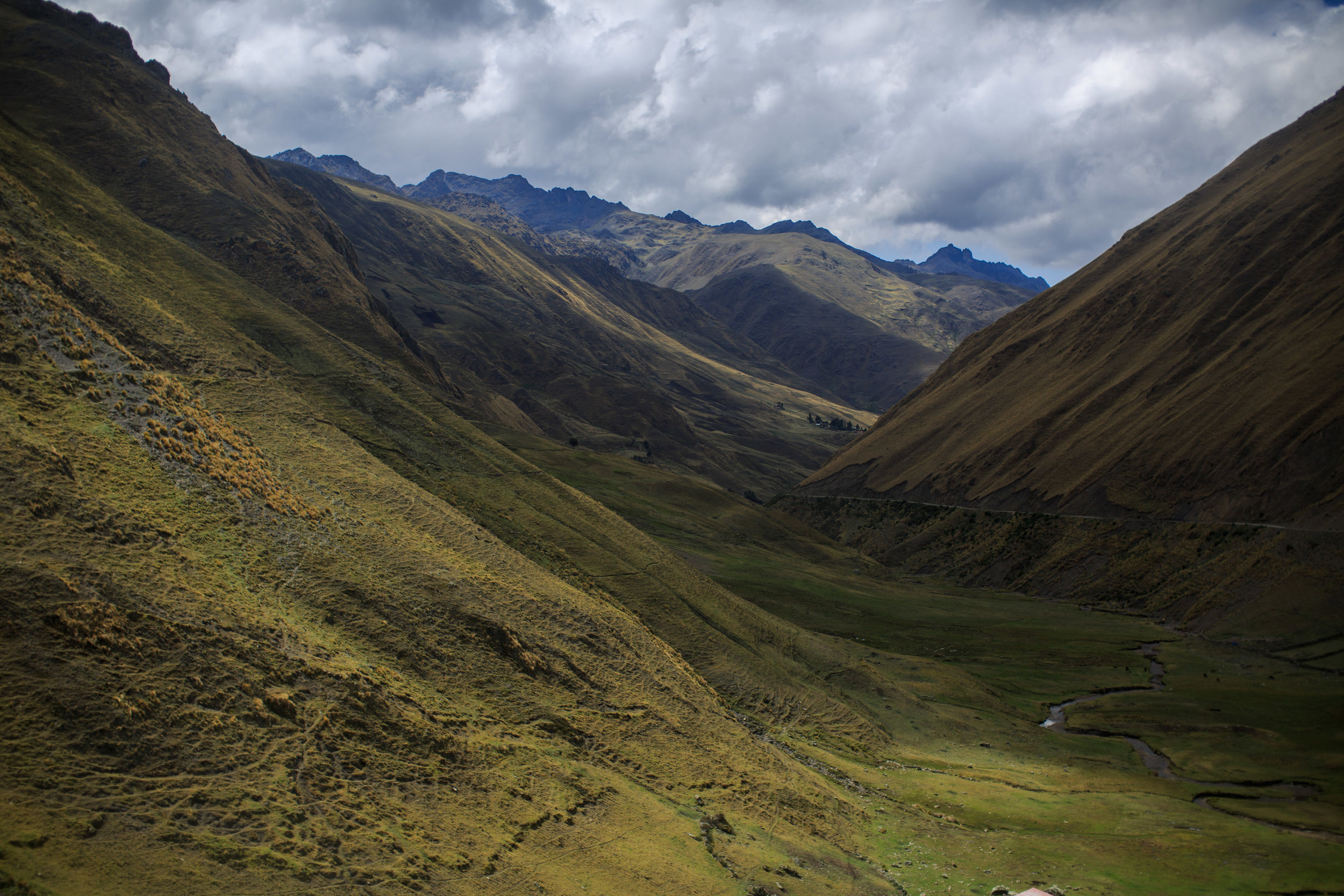 The views across the Sacred Valley of the Incas from the Yupanqui Mamani's alpaca shearing station.