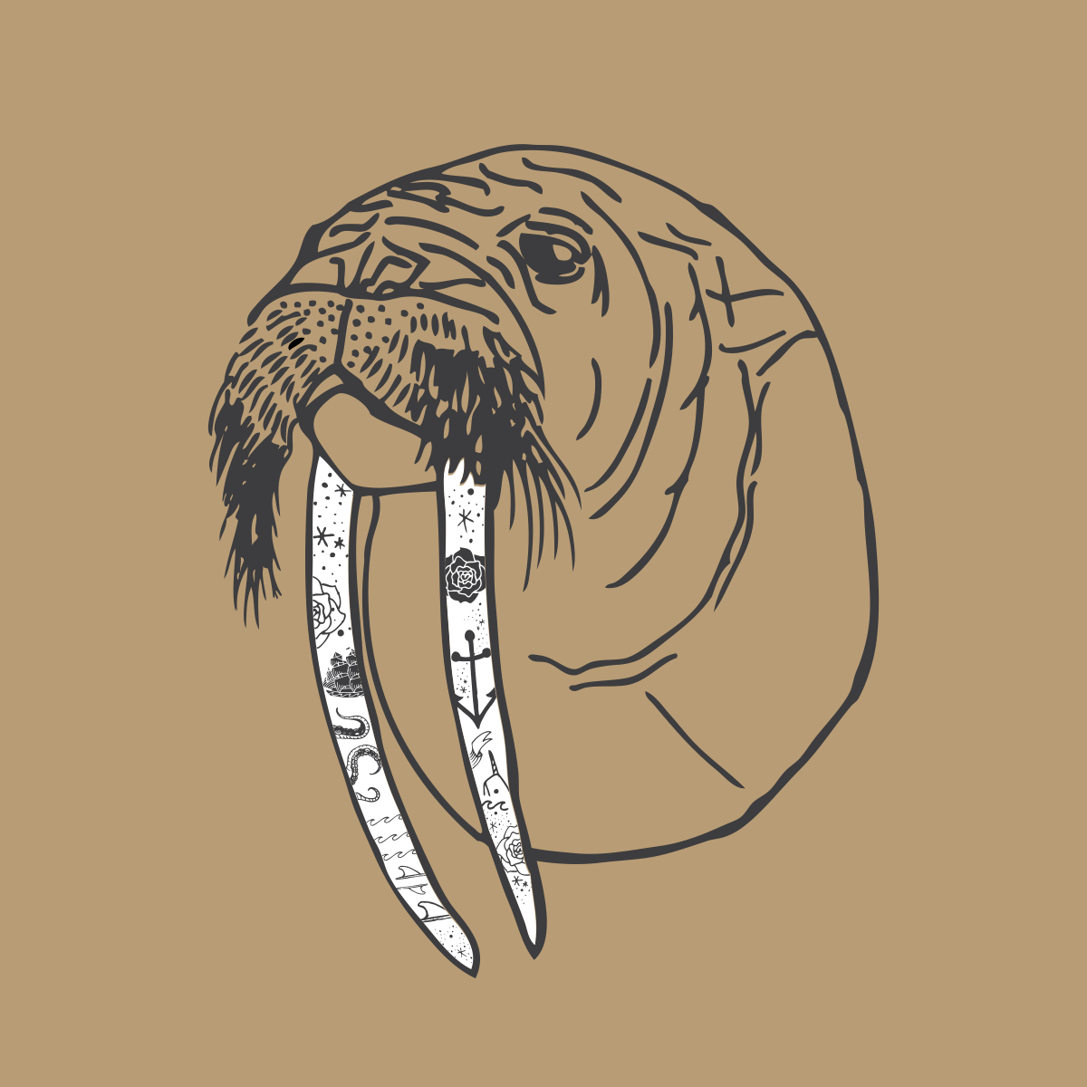 Scrimshaw Wally   Apparel and hat design for Toes on the Nose surf company. Newport Beach, California.