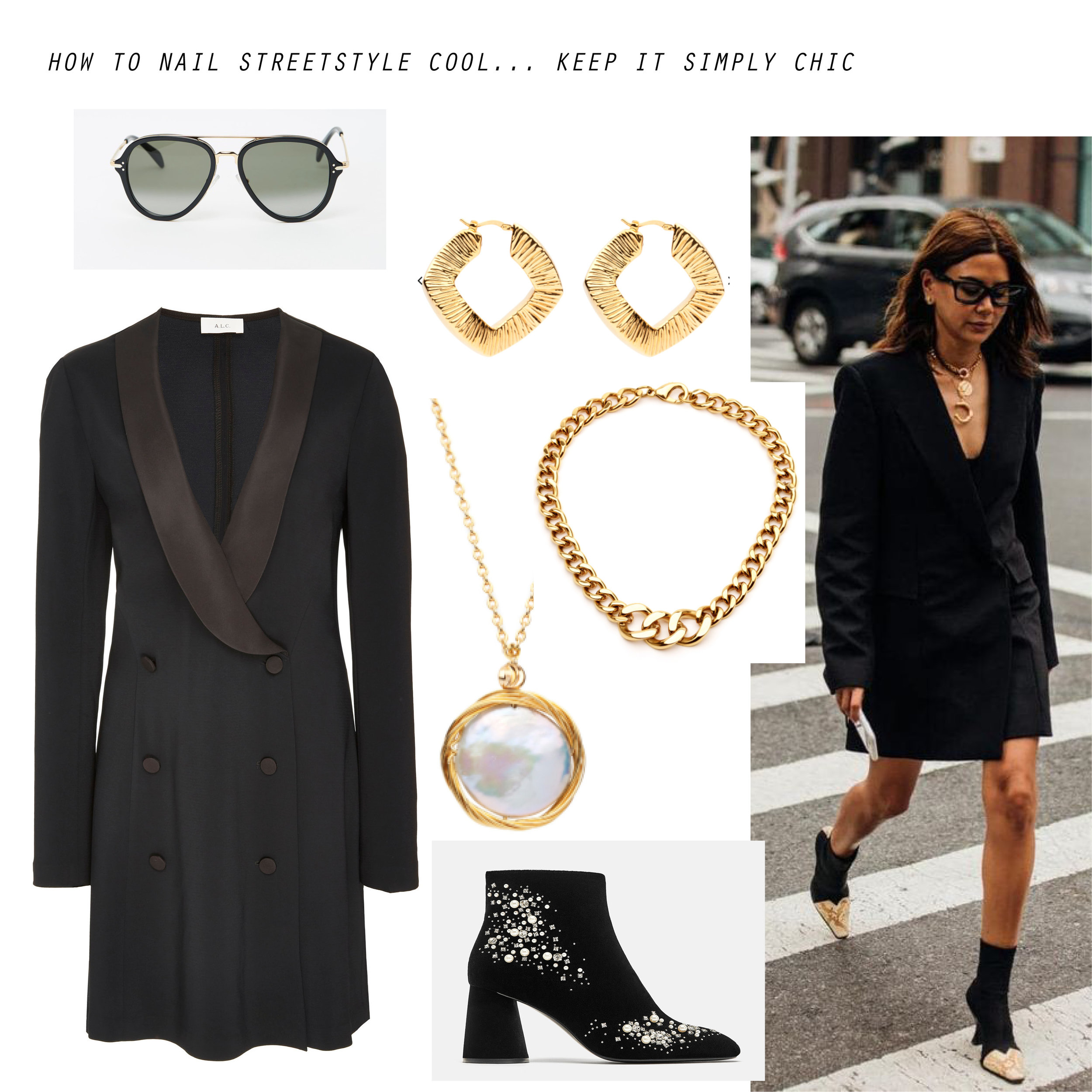 Image courtesy of Pinterest  2. Simply Chic  Shop The Look: A.L.C Tuxedo dress, $  759.67   Celine sunglasses, $630   Amber Sceats collar, $83   Amber Sceats pearl necklace, $179  Zara boots, $119