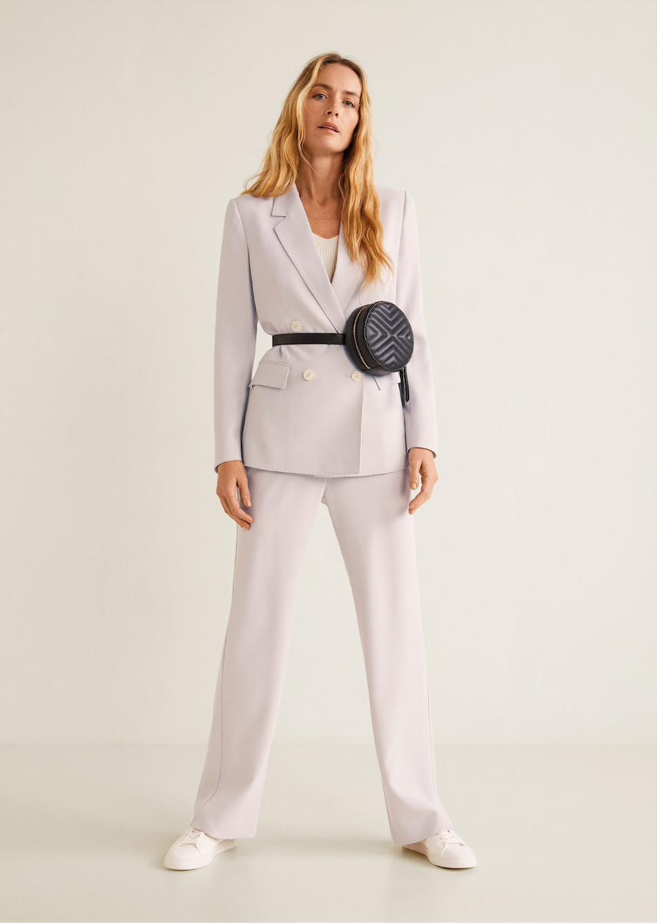 MANGO lilac suit jacket, $149.95    MANGO lilac suit pants, $99.95