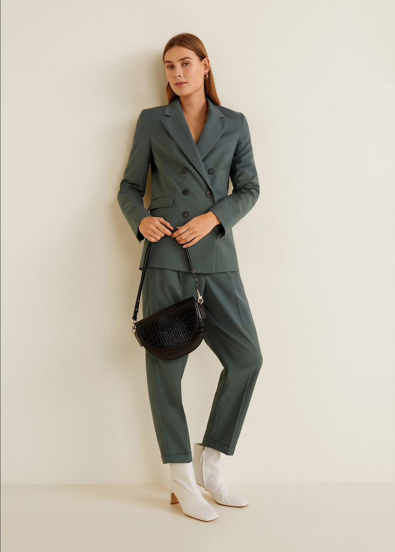 MANGO sage suit jacket, $129.95    MANGO sage suit pants, $79.95