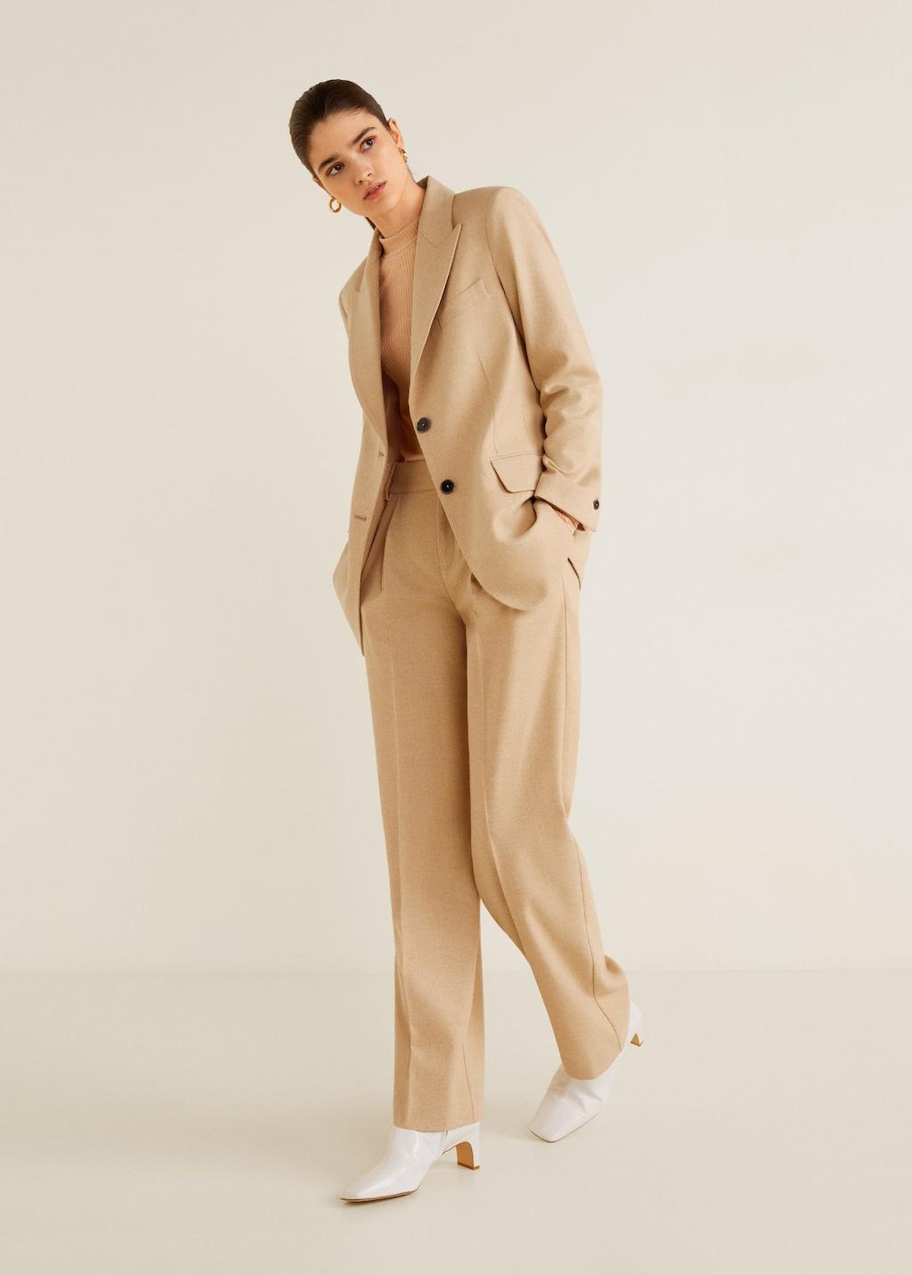 MANGO oatmeal suit jacket, $149.95   MANGO oatmeal suit pants, $99.95