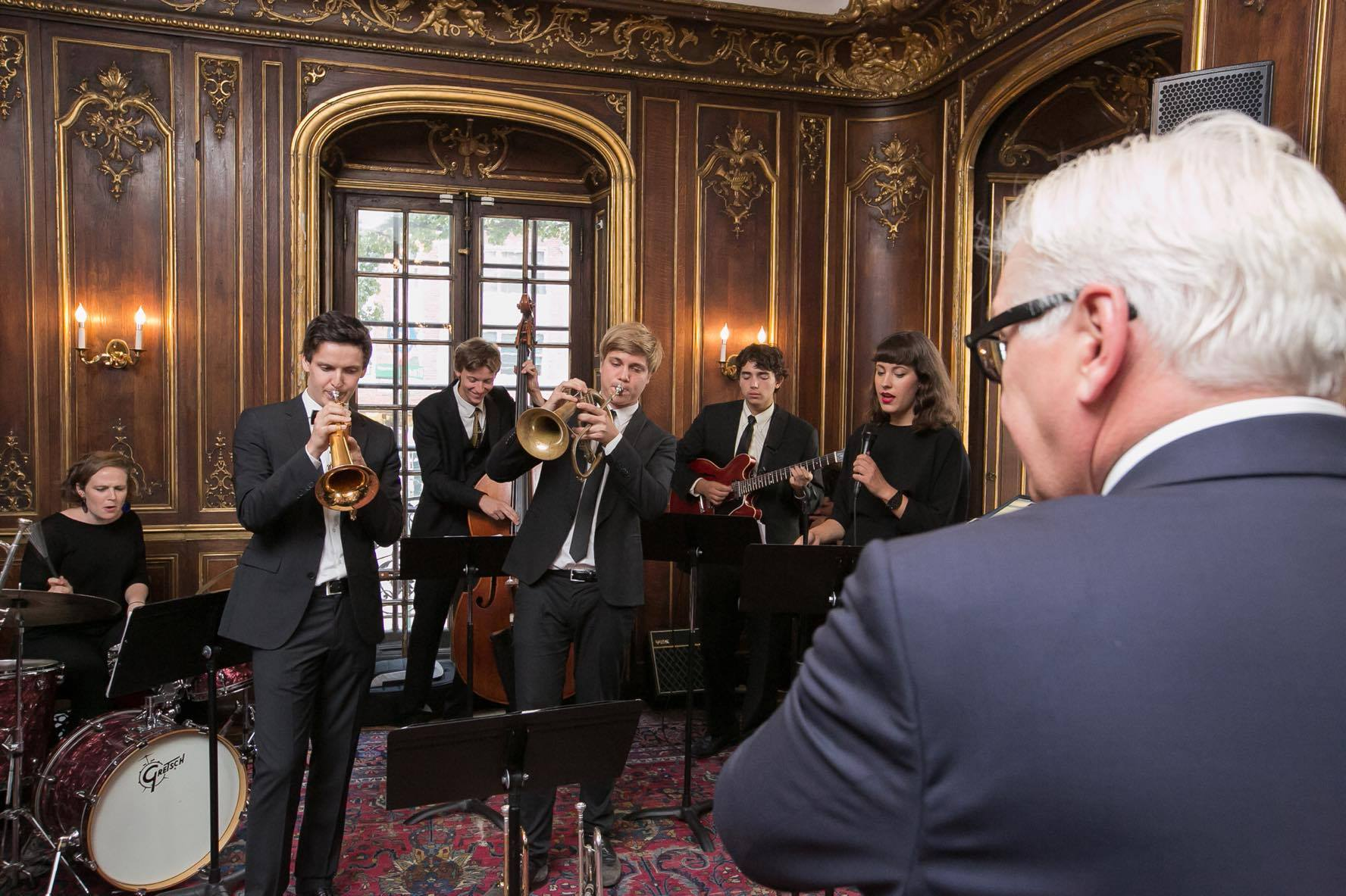 Mark at an otherwise 100%  GERMAN  occasion playing re-imagined Martin Luther music for Minister of Foreign Affairs Frank-Walter Steinmeier at the Morgan Library