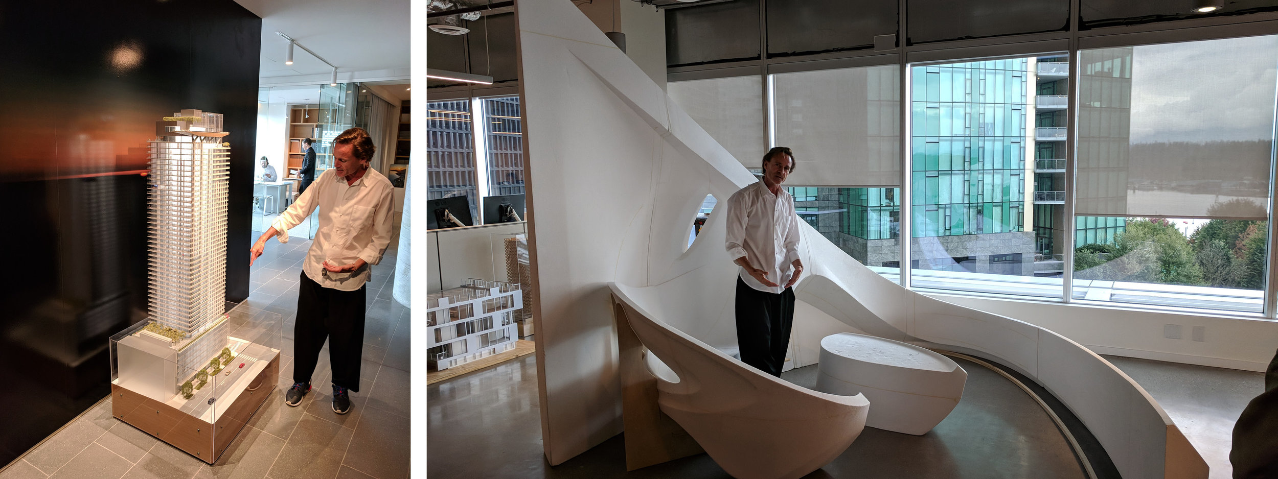 Gillespie shares a model of the First Light project (left) and a concept for a re-imagined balcony.