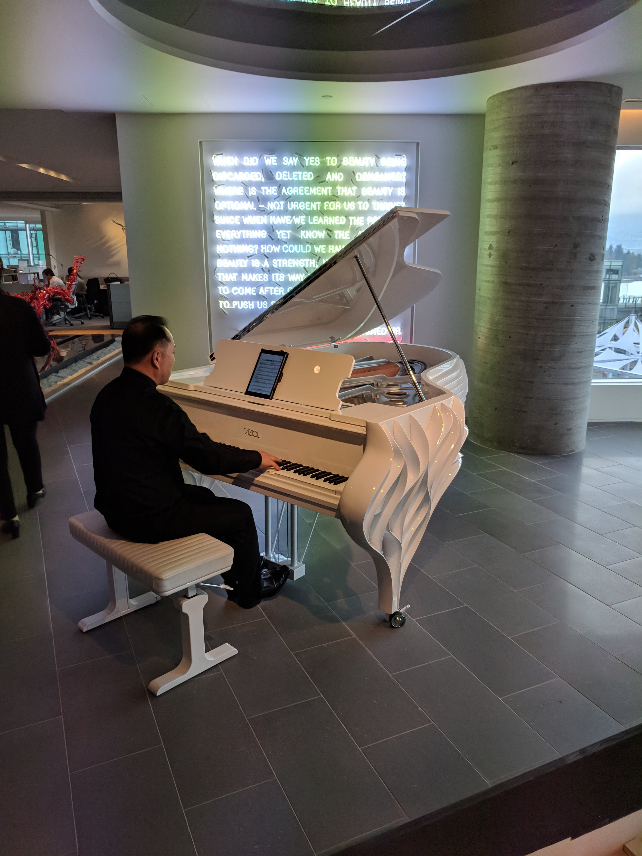 A custom-built Fazioli piano that was created for the Butterfly in Vancouver.