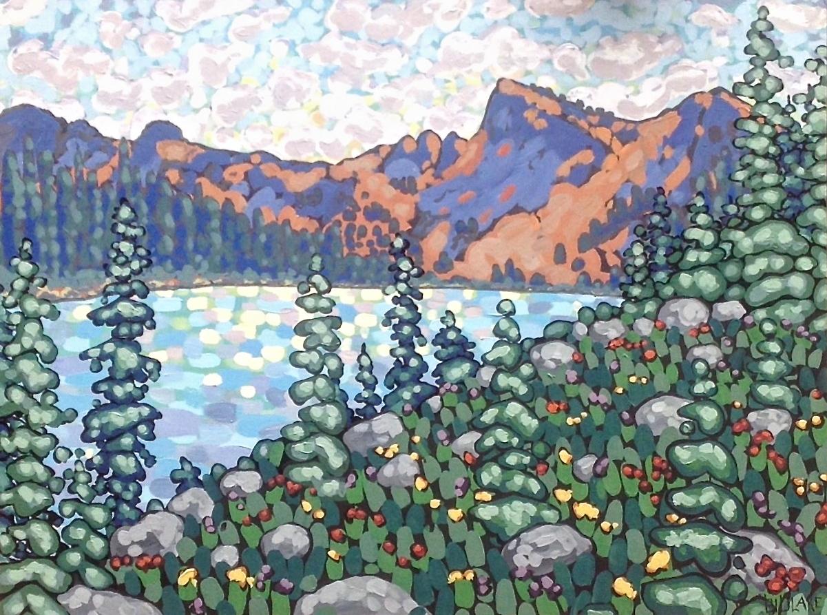 """'Jade Lake' Sold 36x48"""" acrylic on cradle"""