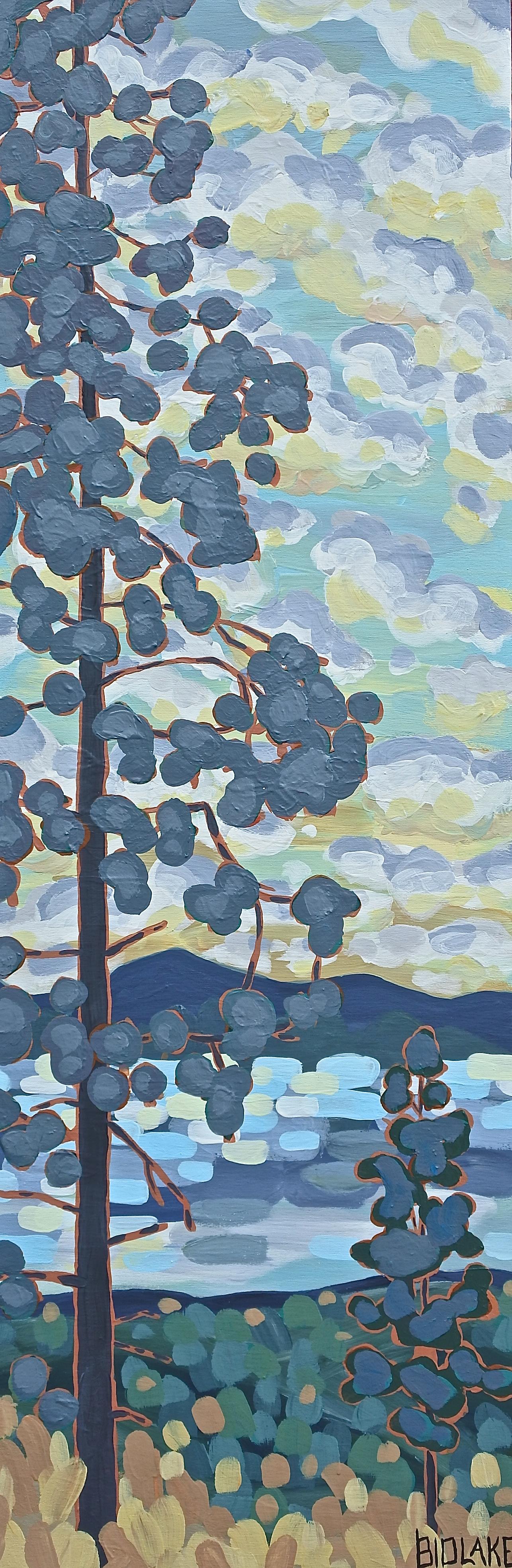 "'Dusky Pines' Sold 12x36"" acrylic on cradle"