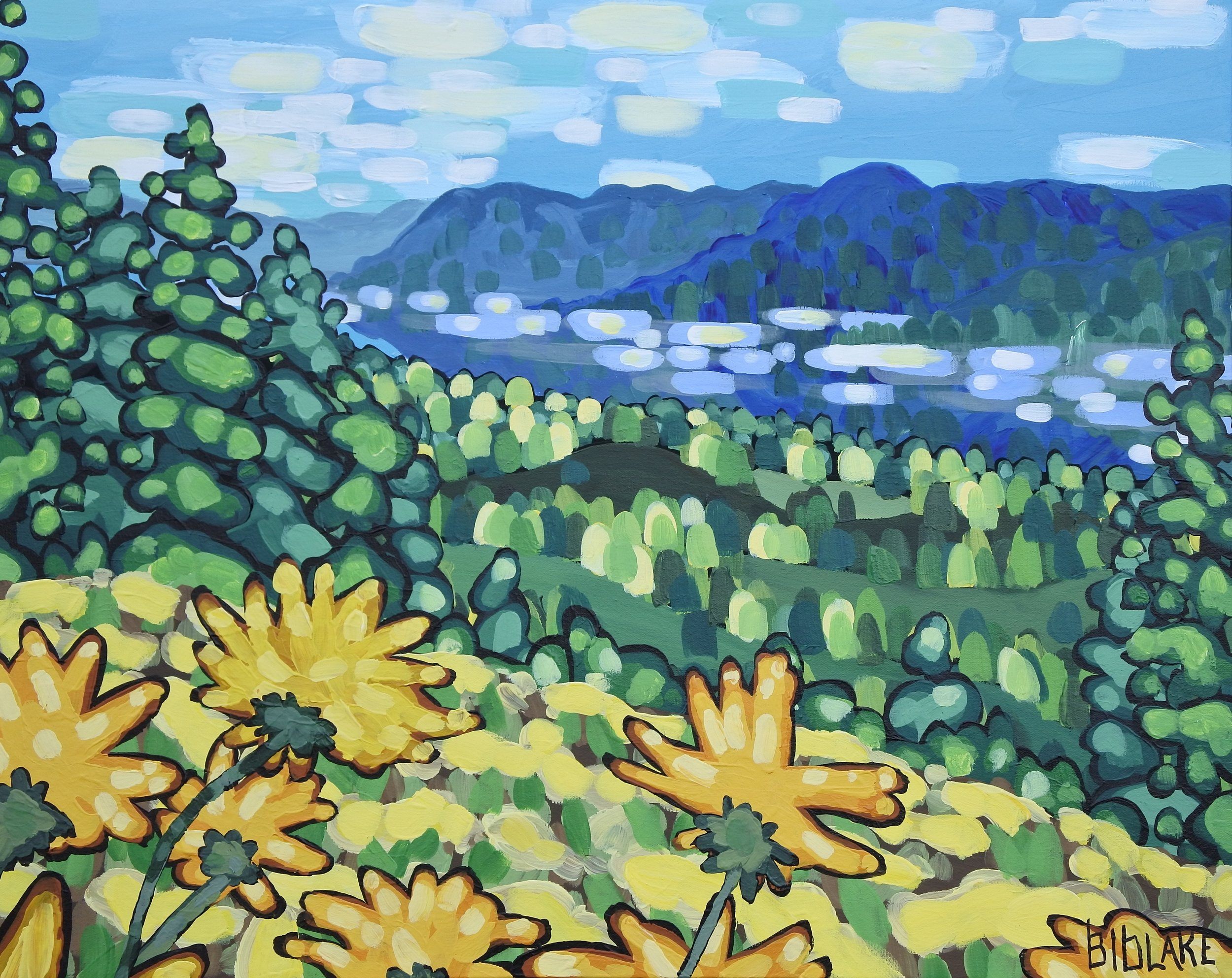 "'Peering at Rattlesnake Island' Sold 24x30"" acrylic on canvas"