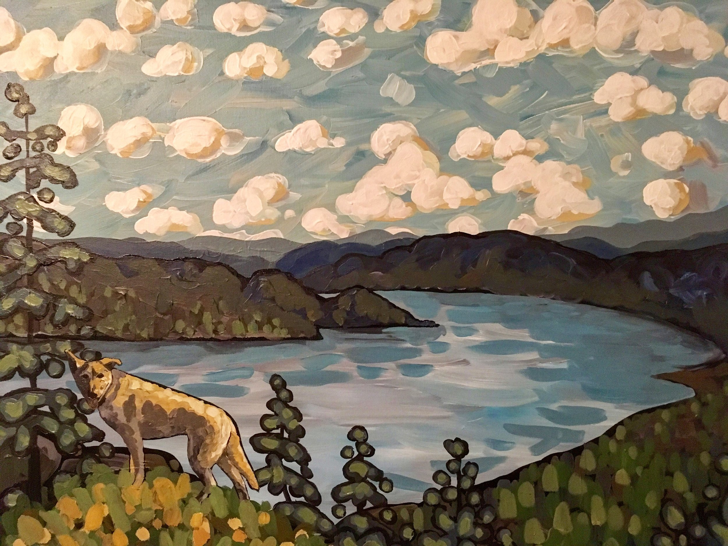 """'Hiking with Floyd' Sold 24x36"""" acrylic on canvas"""