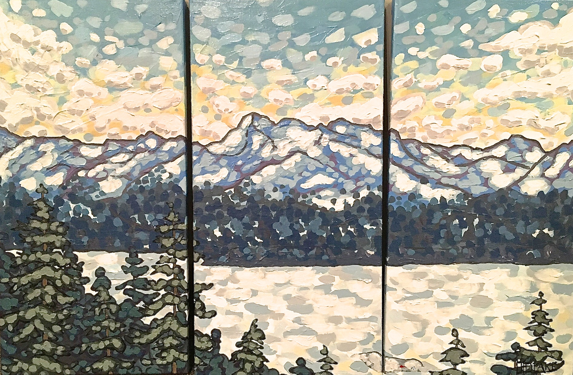 "'Mica Glow' Sold 12x24"" triptych acrylic on canvas"