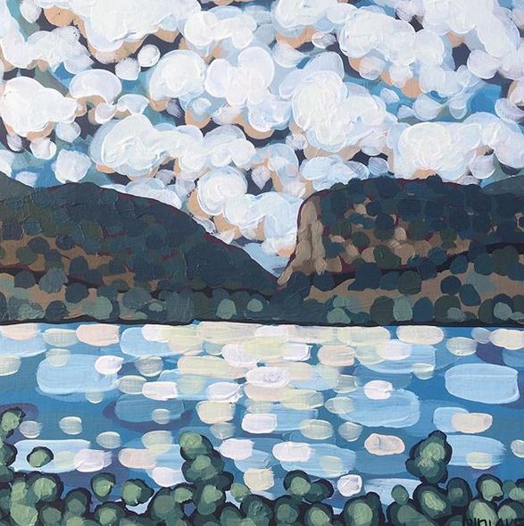 """'Clouds on the Bluff' Sold 12x12"""" acrylic on wood cradle"""