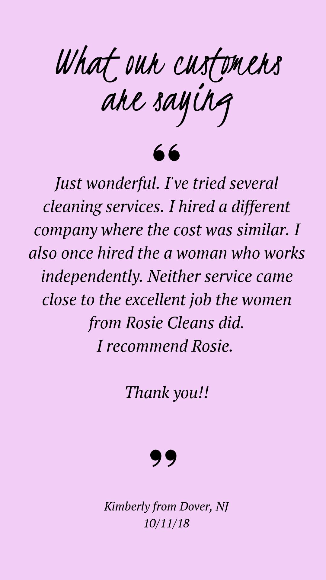 Rosie Cleans Cleaning team