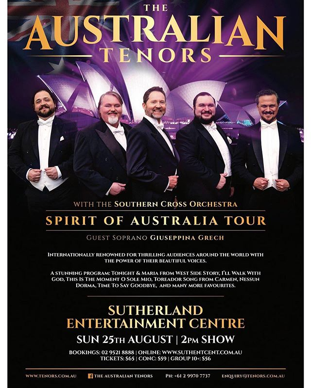 Sydney siders- This weekend I'll be performing with @theaustraliantenors at @sutherlandentertainment 🎶 Would love to see you there! 💃🏻🌟 . . . #opera #soprano #guestartist #special #tour #australia #performance #show #tourlife #ilovemyjob #ilovetosing #popera #crossover #tickets #comealong #meetandgreet