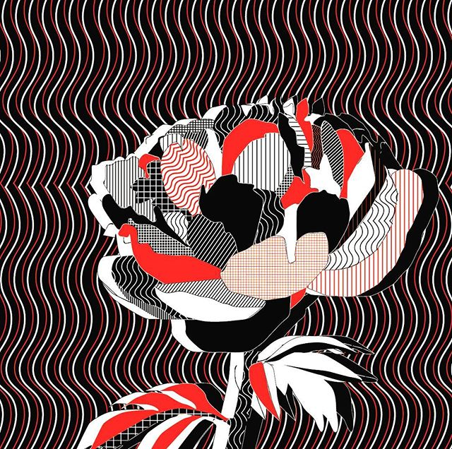 Just playing around doing a little something something #popart#waves#peony#art#semi glitch#redblackwhite