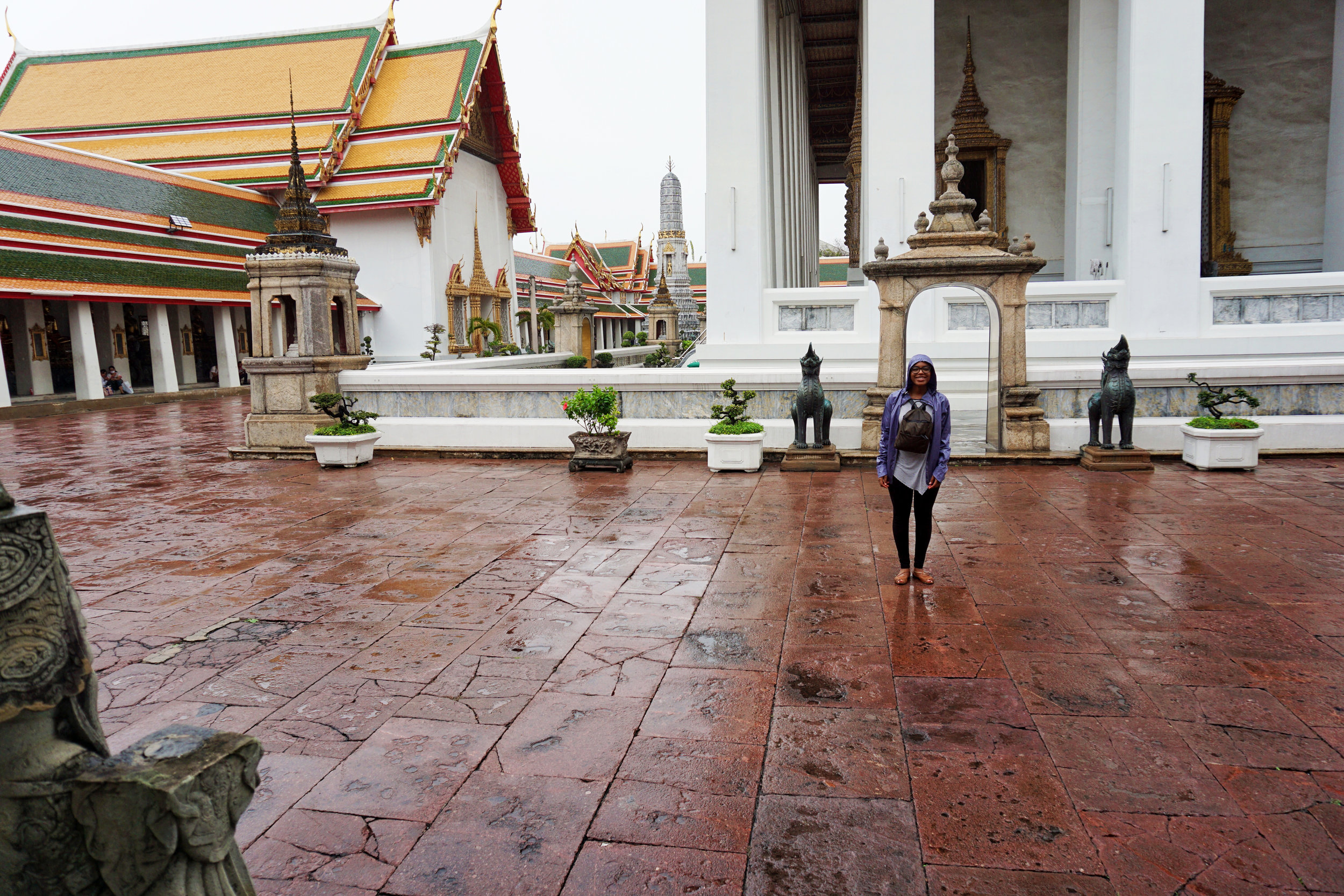 Rainy day at Wat Pho in Thailand