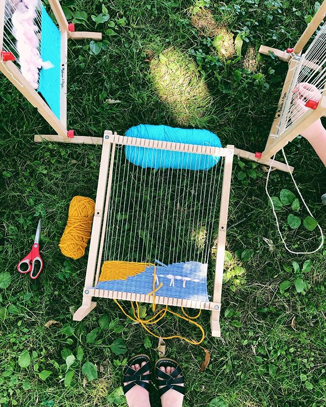 wandering weavers camp is the epitome of summer fiber fun. I love being a teaching artist because I to share the calm + fun of handwork with kids. They're so good at it! Thankful for great places like @hatchartstudio in Pittsburgh helping all of us play a little more.
