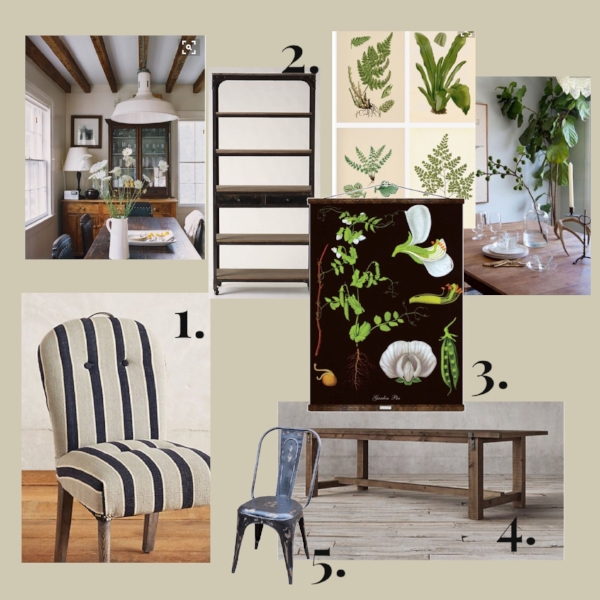 1.  Folkthread Dining Chairs from Anthropologie (similar) 2.  Decker Bookshelf from Anthropologie 3.  Vintage Botanical Chart (similar ) 4.  Restoration Hardware Dining Table  5.  Vintage Industrial Chairs