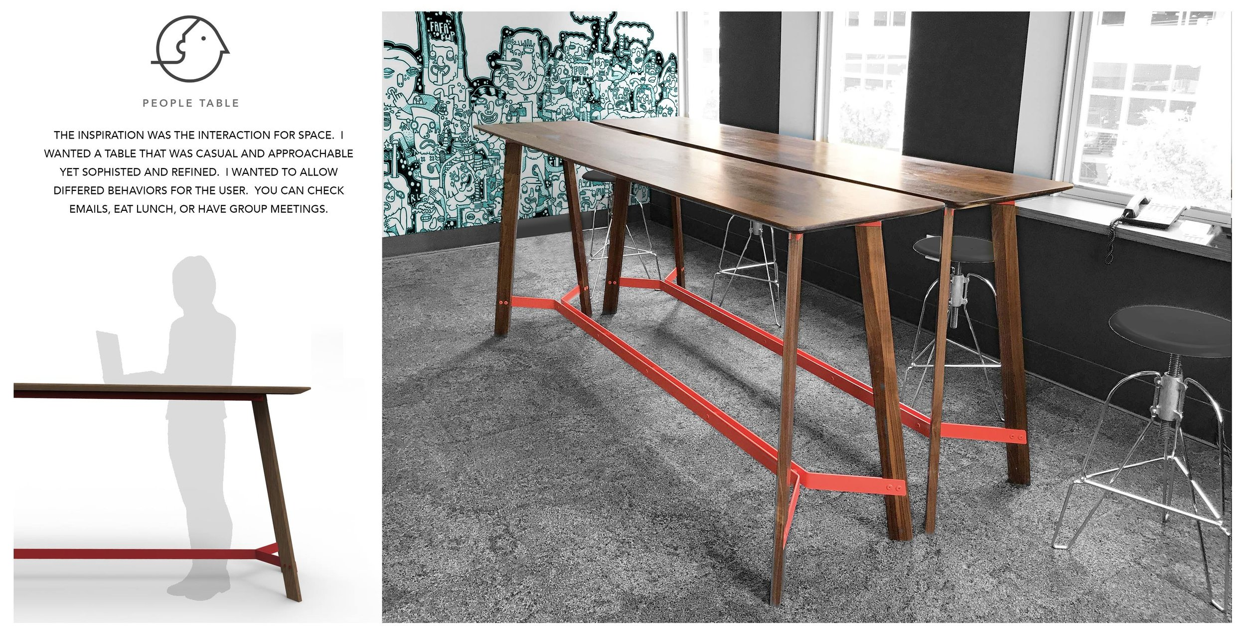 A table inspired by the interaction of the space, becoming a casual and approachable refined design by Fernando Ramirez.
