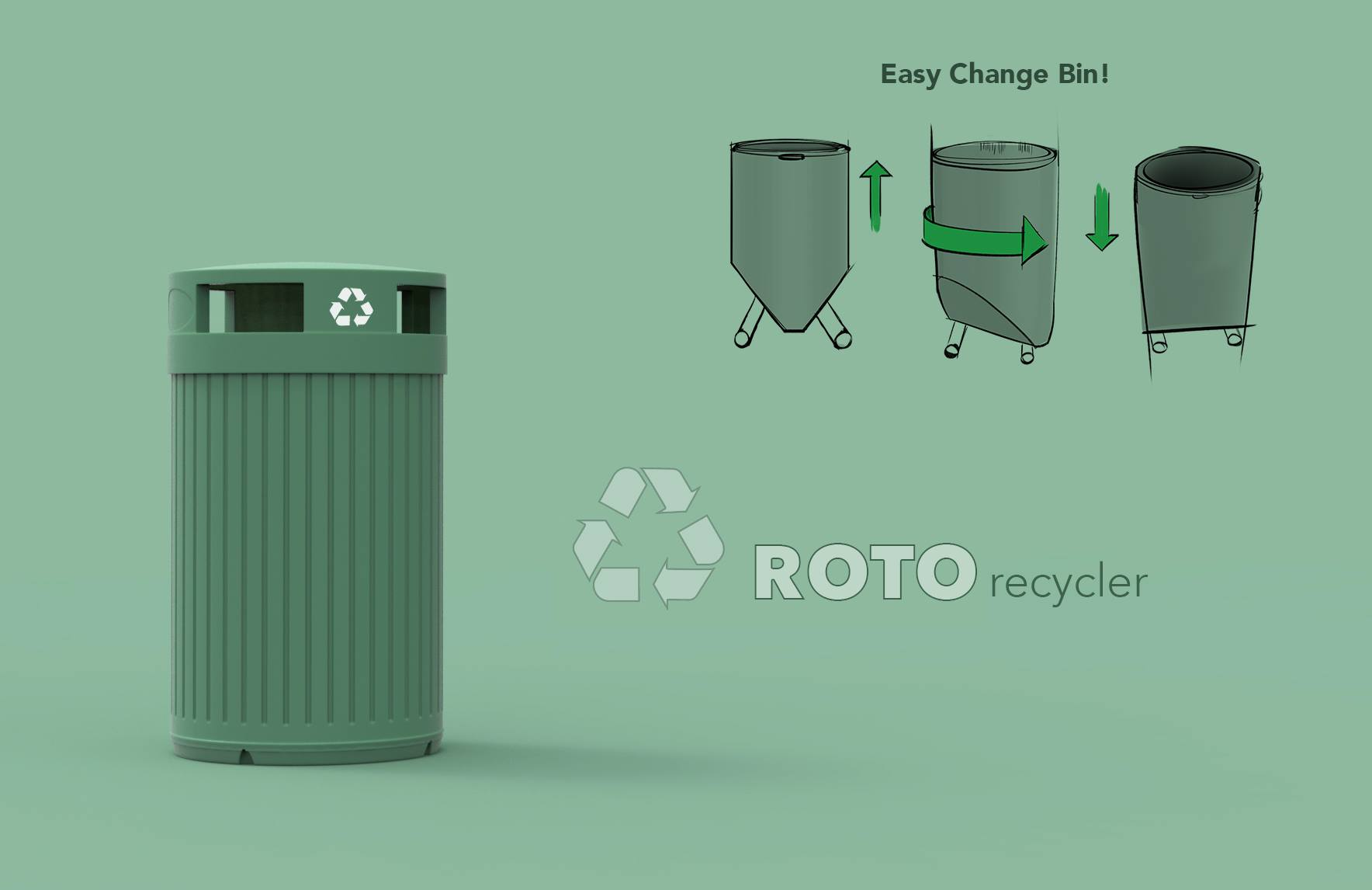 A recycling receptacle for Green Siteworks, made from recycled materials for recycled materials.