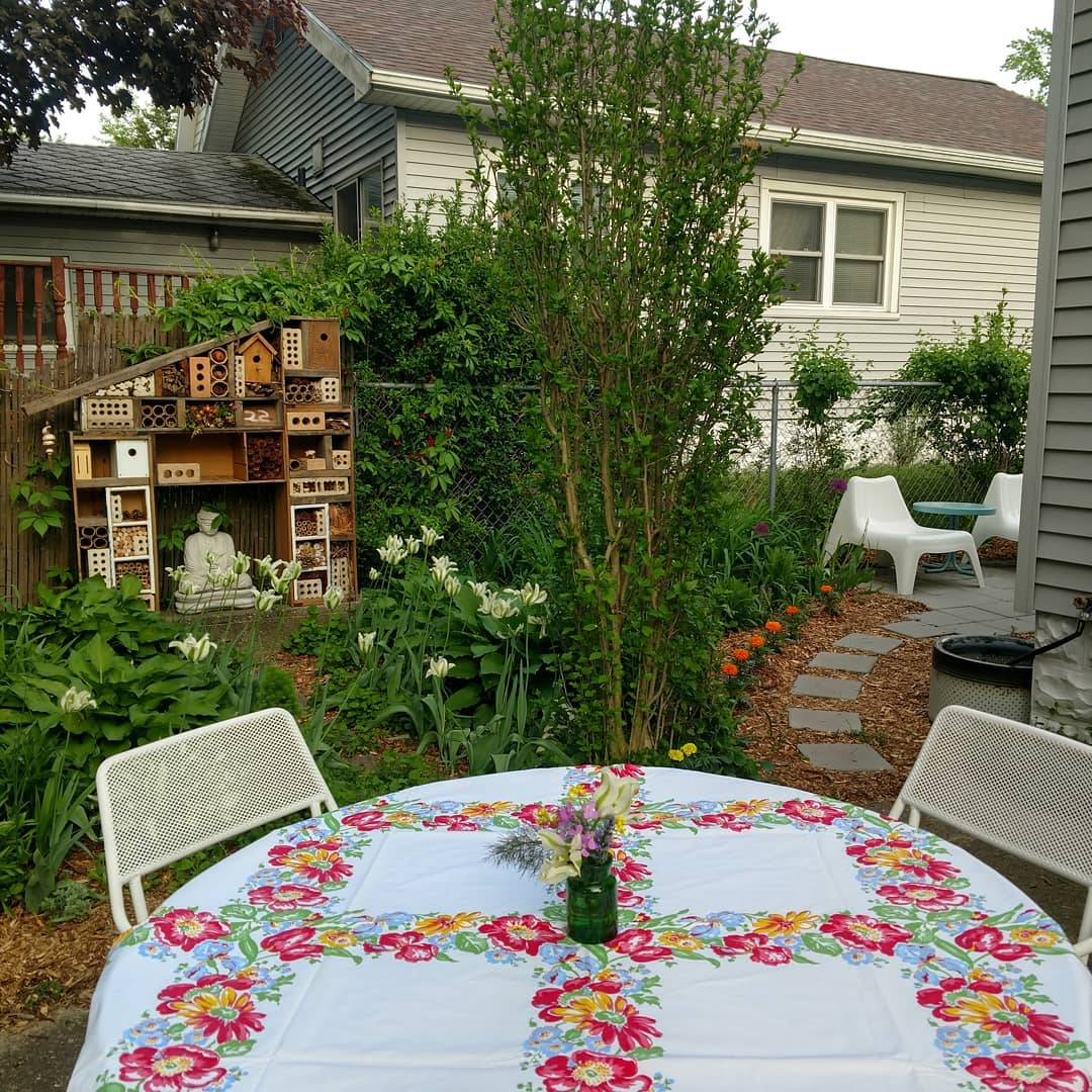 the patio with our Bee house -first one registered in MI.jpg