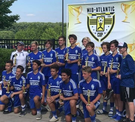 Bayshore SC Strikers after winning the championship game of the 2017 Mid-Atlantic Cup.