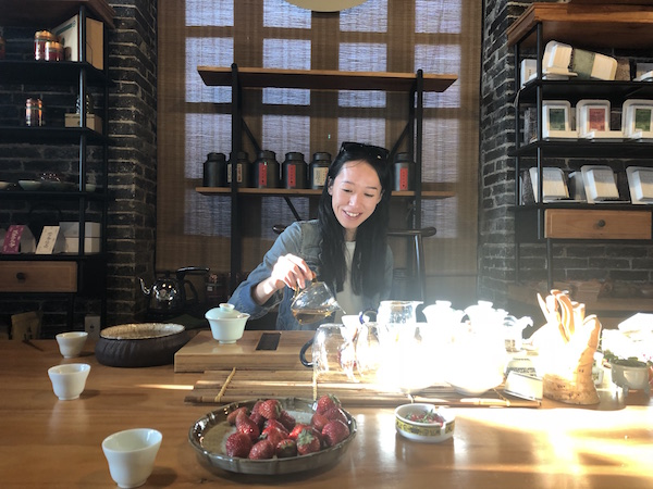 London-based Tea Sommelier,Rui Liu, serving tea to me in her native Guizhou, at Tea Master's room in the city of Guiyang. Bliss.