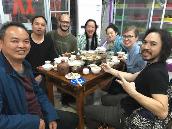 Dinner up in the mountains of Guizhou with our tea geek crew and the local Tea Master farmers.