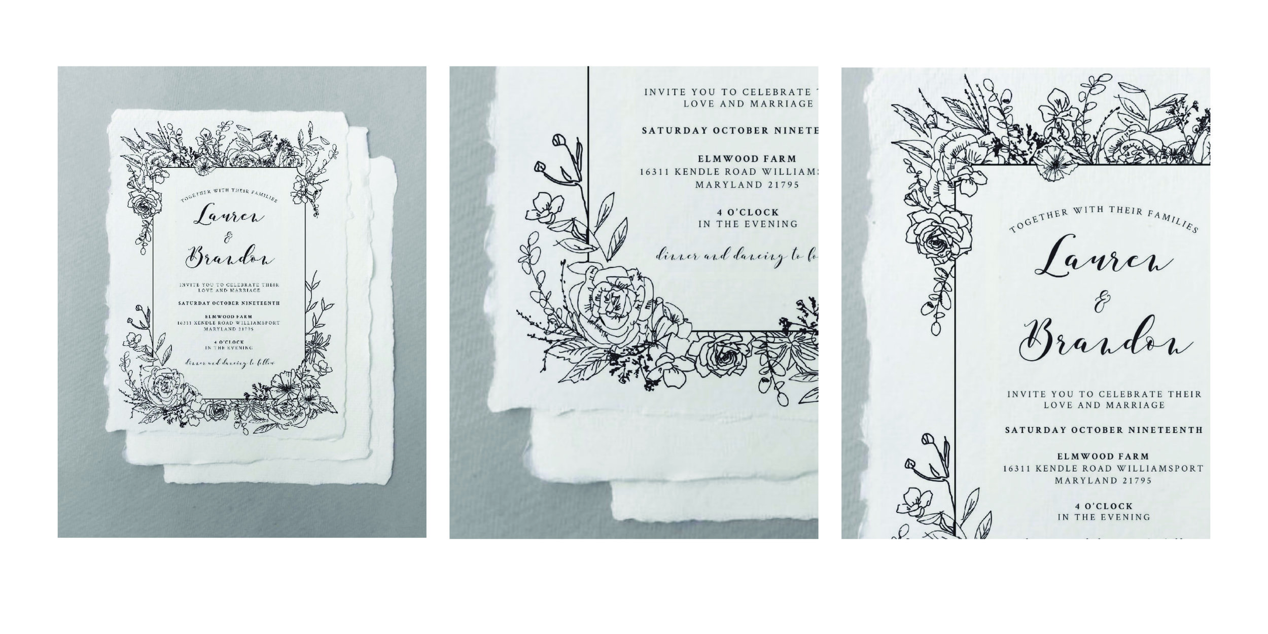 a whimsical commission wedding invitation with hand illustrated botanicals, deckled edges, and a meeting of romantic and rustic type to encompass both the bride and groom in design.
