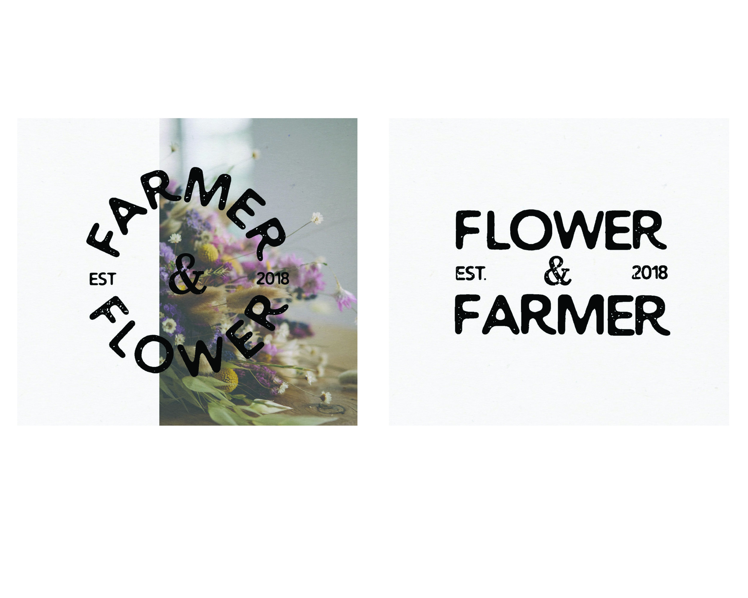 logo concept design for a pick-it-yourself flower farm set in the british countryside. inspired by old produce stamps, the branding has a rustic, handcrafted feel with romantic imperfections.