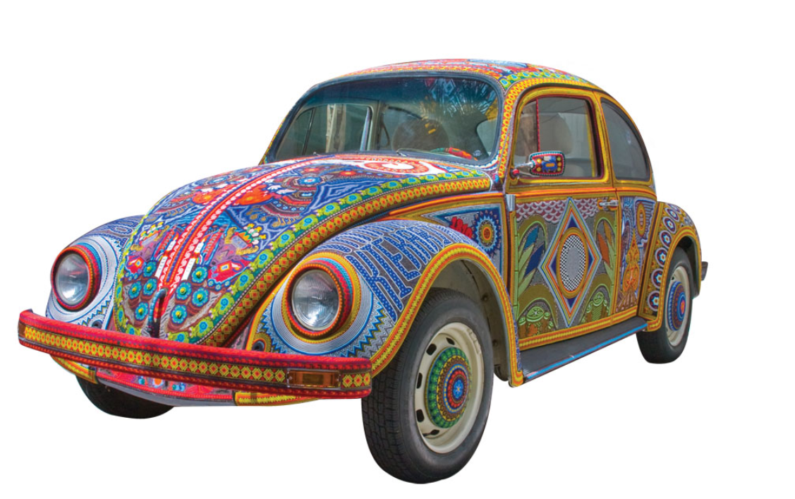 VOCHOL - Is a Volkswagen Beetle that has been decorated with traditional Huichol (Wirrárika) beadwork from the center-west of Mexico.
