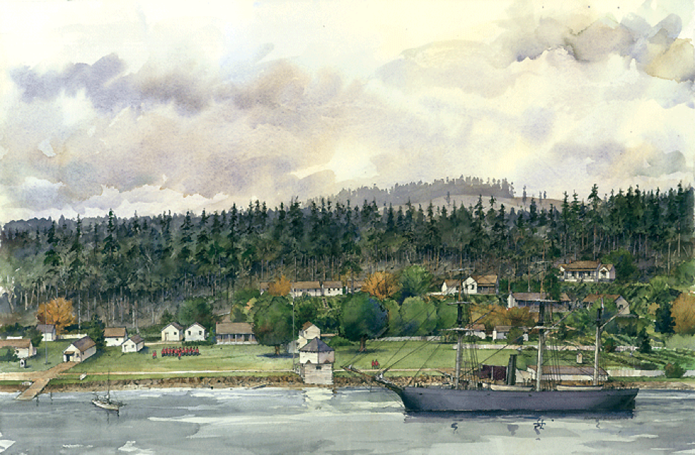 This artist's depiction shows the Royal Marine Camp at its apex with 27 structures, a formal garden and ample room on the parade ground. The ship is HMS Boxer, a steam gunboat with shallow enough draft to negotiate the waters of Garrison Bay. The Boxer called on a regular basis from Victoria, BC,bringing mail, food and other stores along with passengers going both ways. NPS Painting by Richard Schlecht