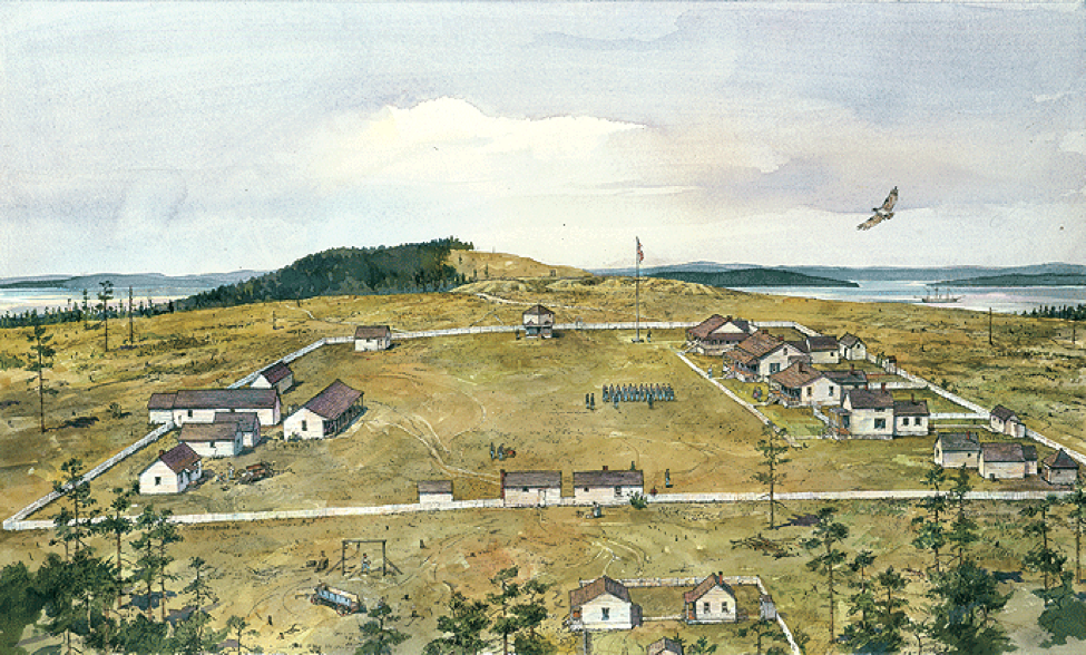 Camp San Juan Island, today known as American Camp, was occupied by the U.S. Army from July 1859 through November 1874. The only structures in the above artist's depiction that remain today are the two officers' quarters at far center right. It is believed George E. Pickett of American Civil War fame lived in the quarters on the left. NPS Painting by Richard Schlecht