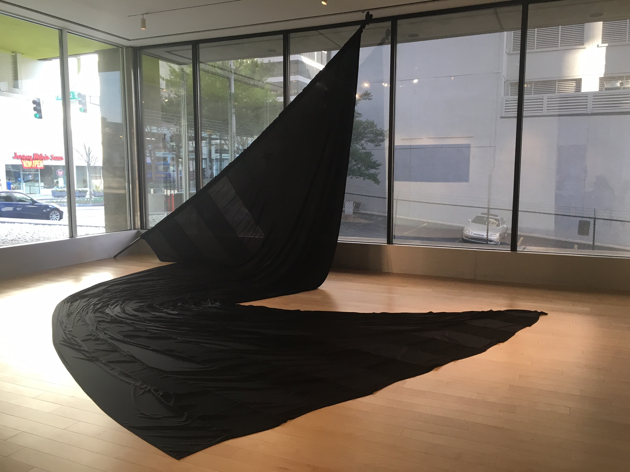 Paul Stephen Benjamin,  Black Cotton Flag Made in Georgia , 2018, Black Cotton, 14'x27'. Courtesy of the artist.