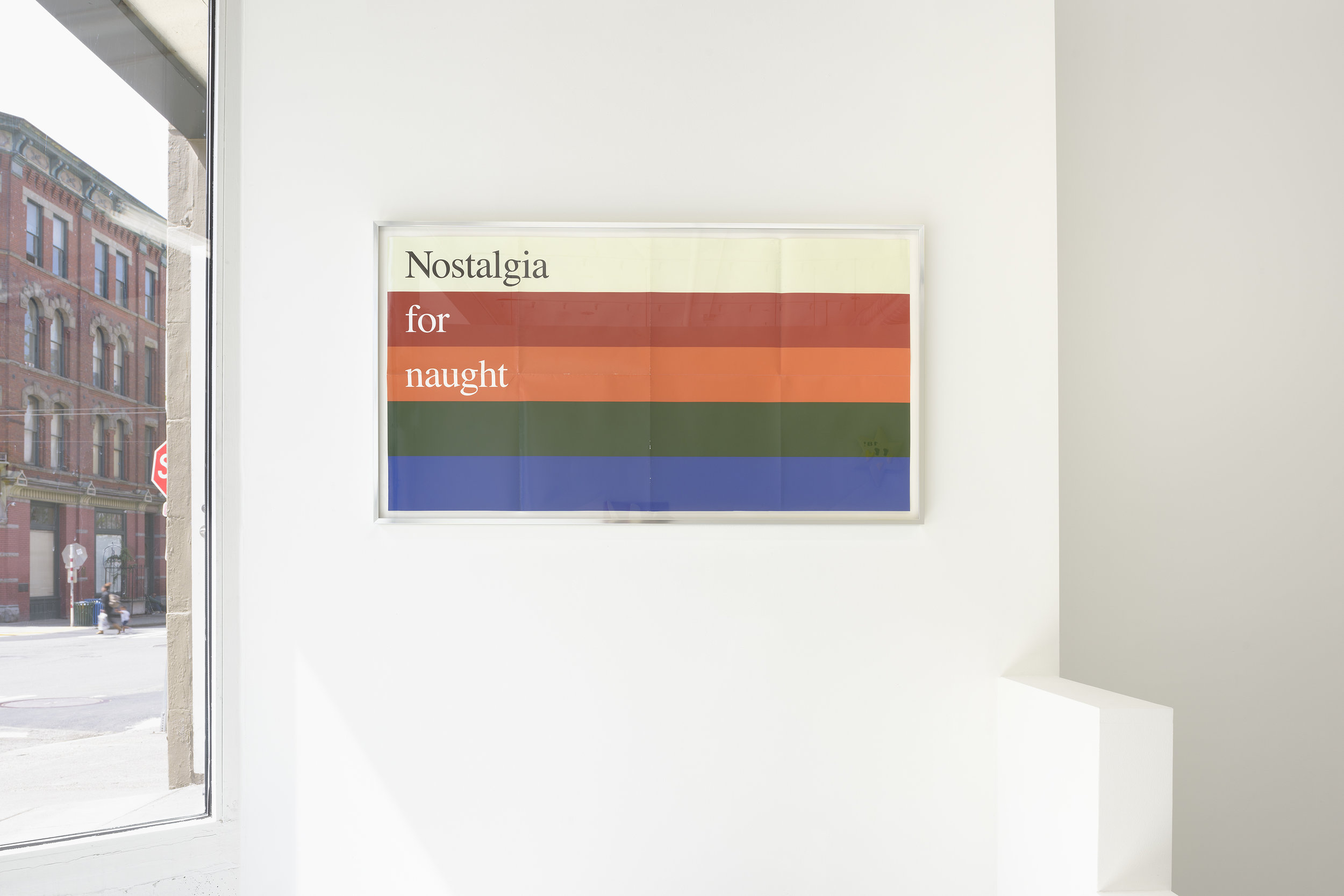 Dori Hana Scherer, Nostalgia for Naught , 2018,aged poster, aluminum frame 45 x 24.5 inches,installation view, Specialist, Seattle WA