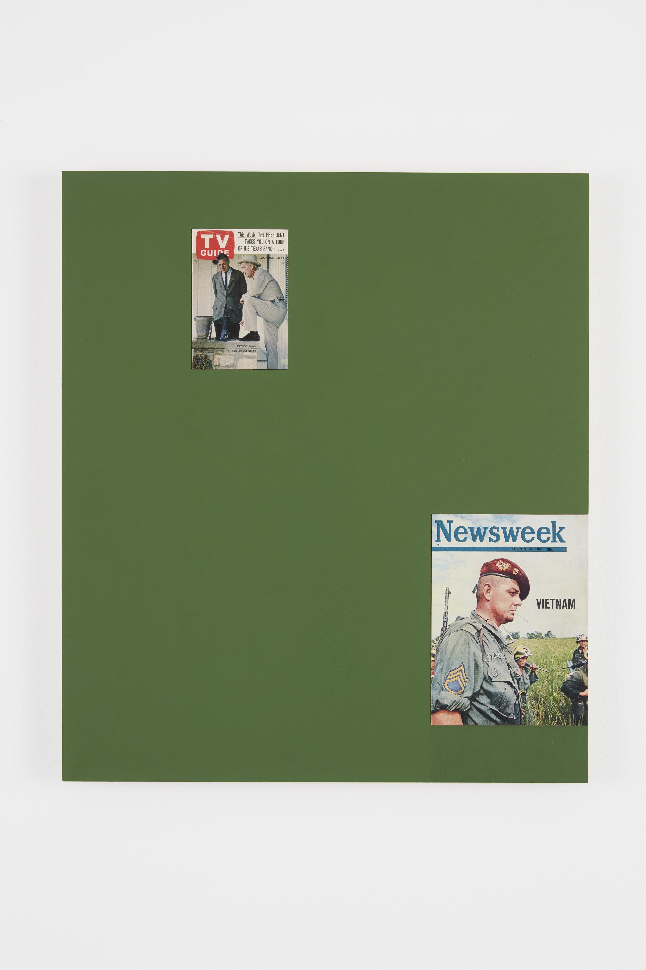 Matthew Brannon,  Éphémère (Television War) , 2018, Oil on linen, UV pigment print, 32 x 27.5 inches. Image courtesy the artist and Casey Kaplan, New York. Photo: Jason Wyche