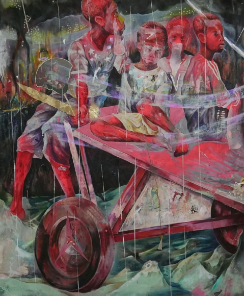 Lavar Munroe, 2018,  In a Kingdom of Ignorant Kings,  2018, Acrylic, antique funeral fans, rope and spray paint on canvas, 76 x 63 inches, Courtesy of the Artist and Jenkins Johnson Projects, NY