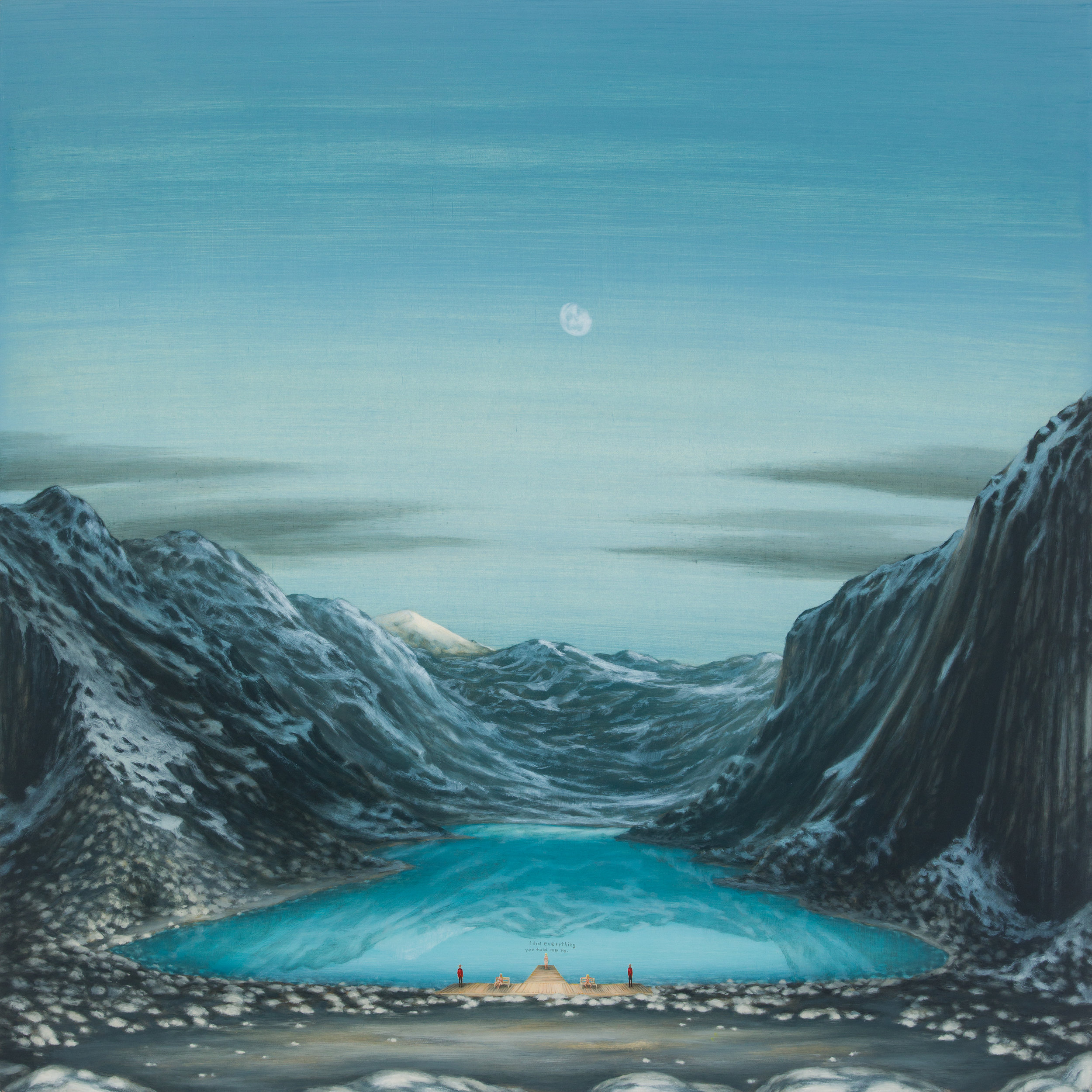 Dan Attoe,  Glacial Lake with Two Blonde Girls 2,  2015, Oil on panel, 24 x 24. Courtesy of the artist and Western Exhibitions.
