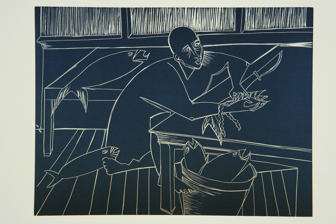 Barbara Earl Thomas,  Man Cleans Fish , Linocut , 9 x 12 inches, 2006, Edition 7/10. Courtesy of the artist and Claire Oliver Gallery