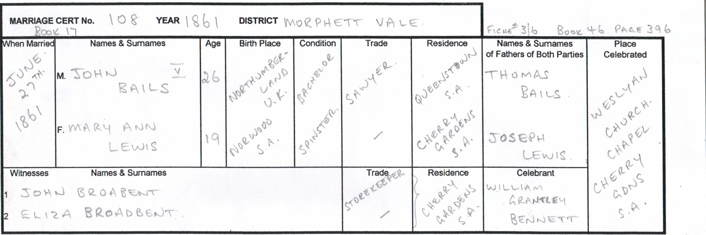 Marriage Certificate John Bails/MaryAnn Lewis