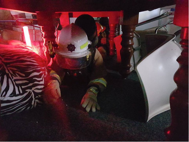 - Pictured is a team hard at work in a simulated exercise and getting a feel for possible confined rescue situations.
