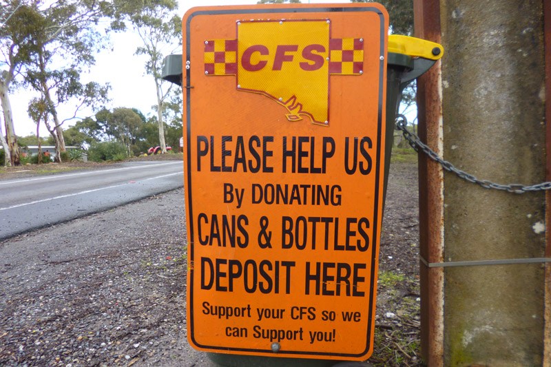 - A big thank you to those who donate their cans and bottles to the Cherry Gardens CFS. This is a major source of income for us, and it helps when we need to fund improvements to our equipment or facilities. Your support is very much appreciated!