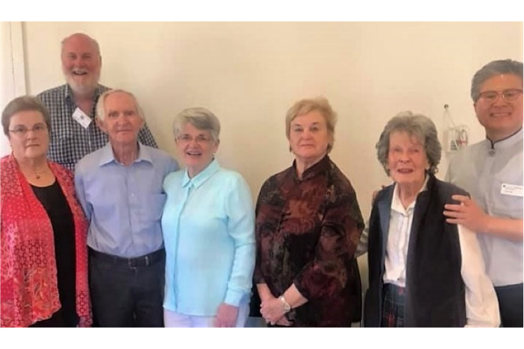 From left: Wendy Perkins, Darryl Dyson, Ron and Phyllis Williamson, Dianne Dyson, Margaret Bennett and Revd. Paul Goh. 13 January 2019.