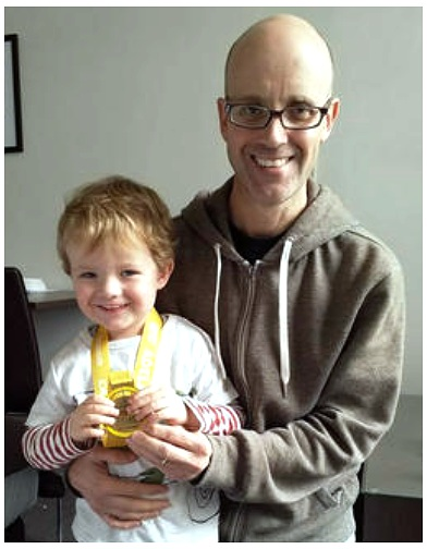 Back at the hotel after the 2018 Adelaide Marathon …    I do the running and my son, Thomas, wears the medals!