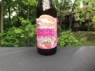 """Must have a beverage on hand in order to attempt some """"joy"""" out of this grill cleansing practice.  Mmmmm . . . Yum Yums from Dogfish Head Brewery."""
