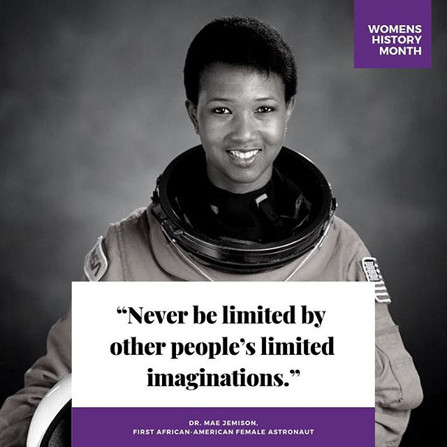Celebrating Women's History Month - Mae Carol Jemison is an American engineer, physician and NASA astronaut. She became the first black woman to travel in space when she served as an astronaut aboard the Space Shuttle Endeavour. After graduating medical school and a brief general practice, Jemison served in the Peace Corps from 1985 until 1987. . . . #WomensHistoryMonth #afrolife #drmaejemison #womensmonth2019 #blackwomenofhistory