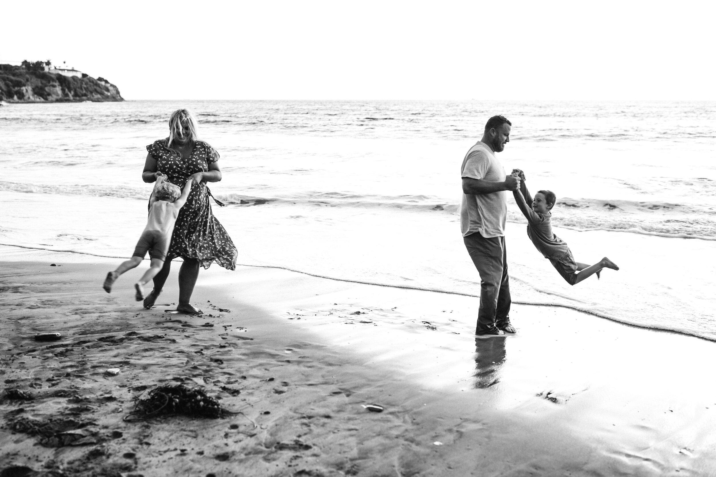 swinging around at the beach